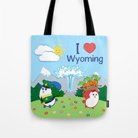 coraline Tote Bags featuring Ernest and Coraline | I love Wyoming by Hisame Artwork
