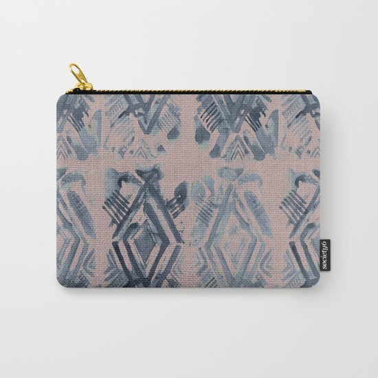 Simply Ikat Ink in Indigo Blue on Clay Pink Carry-All Pouch