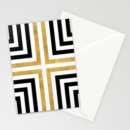Simple Geometric Cross Pattern - White Gold on Black - Mix & Match with Simplicity of life Stationery Cards