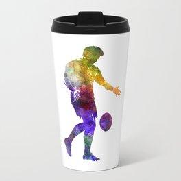 Rugby man player 02 in watercolor Metal Travel Mug
