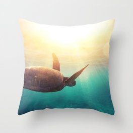 Sea Turtle - Underwater Nature Photography Throw Pillow