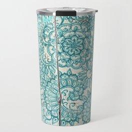 Teal & Aqua Botanical Doodle on Weathered Wood Travel Mug