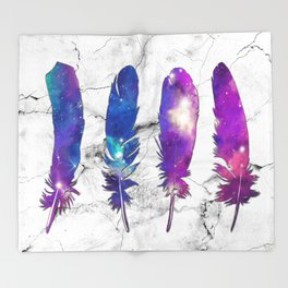 marble galaxy feathers Throw Blanket