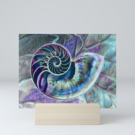 Iridescent Shell Snail Fossil Mini Art Print