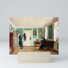 Wilhelm Bendz Interior from Amaliegade. Captain Carl Ludvig Bendz standing and Dr. Jacob Christian B Mini Art Print
