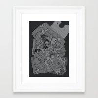 shingeki no kyojin Framed Art Prints featuring shingeki no cuddle pile by ladynorthstar