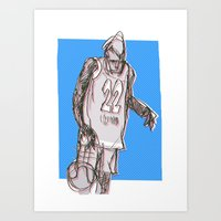 basketball Art Prints featuring basketball by jenapaul