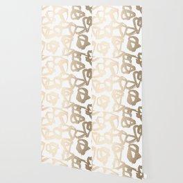 White Gold Geometric Triangle Pattern Wallpaper