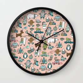Pink Christmas Print, Christmas Illustration Pattern, Cute Holiday Decor, Holly Jolly Holidays Wall Clock