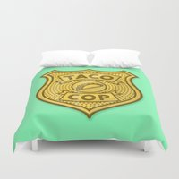 taco Duvet Covers featuring Taco Cop by Josh LaFayette