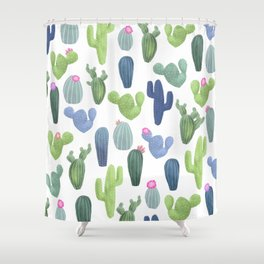 watercolor cacti plants pattern Shower Curtain