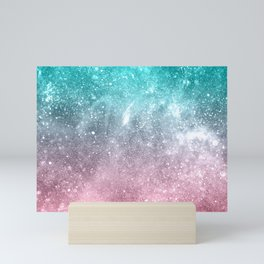 Sea pink viridian green ombre abstract galaxy Mini Art Print