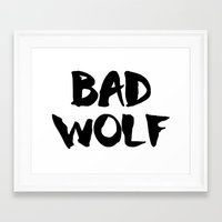 bad wolf Framed Art Prints featuring Bad Wolf  by Freak Clothing