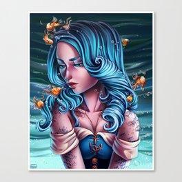 Edgy Upside-Down Fish Girl Canvas Print
