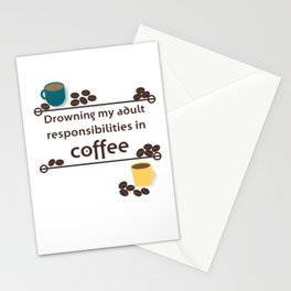 Drowning in Coffee Stationery Cards