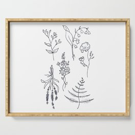 Lavender, Ferns, & Wildflowers Illustration Serving Tray