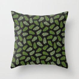Fern Pattern - green on black Throw Pillow