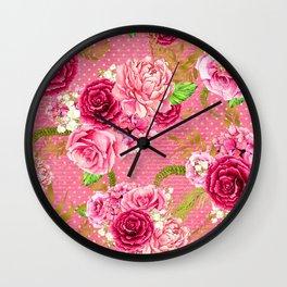 Pink & Gold Vintage Floral Pattern Wall Clock