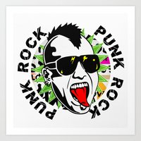 punk Art Prints featuring punk by mark ashkenazi