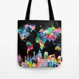 world map city skyline 3 Tote Bag