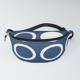 Mid Century Modern Circle and Dot Pattern 240 Navy Blue Fanny Pack