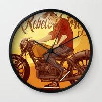 rebel Wall Clocks featuring Rebel by Salva Laserna