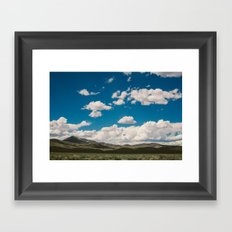 Puffy White Clouds with Blue Sky and Green Meadow Hills Framed Art Print