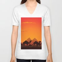 camel V-neck T-shirts featuring Camel by aleksander1