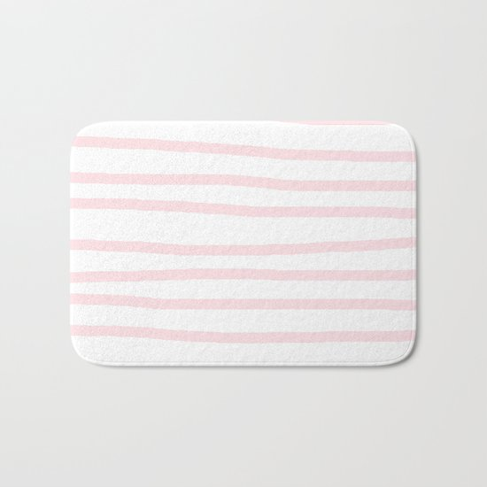 Simply Drawn Stripes in Pink Flamingo Bath Mat