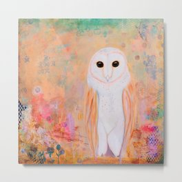 Magical Snowy Owl on Abstract Floral Metal Print