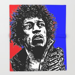 Jimi Hendrix Pop-Art (Red-Blue) Throw Blanket