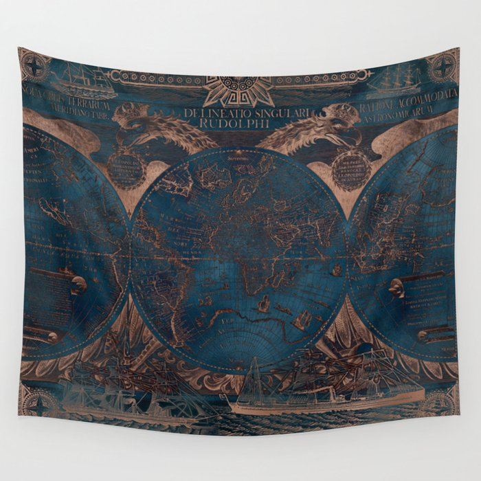 Rose gold and cobalt blue antique world map with sail ships Wall Tapestry
