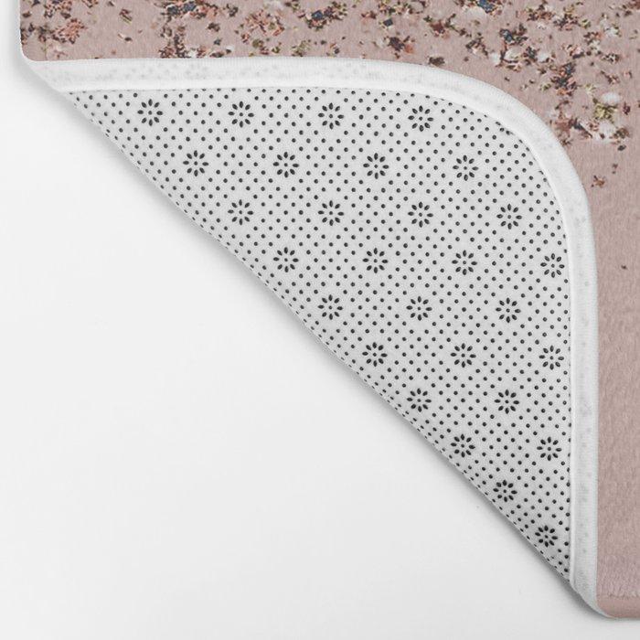 Blush Pink Rose Gold Bronze Cascading Glitter Badematte