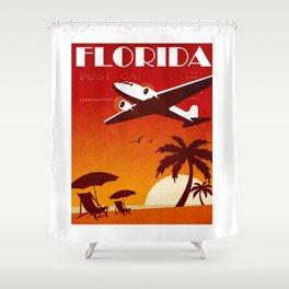 Art Deco Travel Poster - Florida Shower Curtain