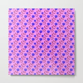 Elegant classy delicate blue blooming rose flowers seamless pattern design. Feminine stylish floral Metal Print