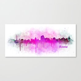 Rome city skyline HQ v05 pink Canvas Print