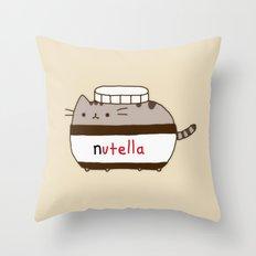 Nutella Cat Throw Pillow