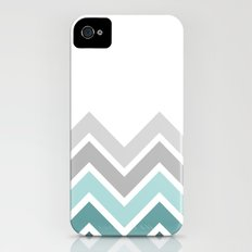 WHITE/ TEAL CHEVRON FADE Slim Case iPhone (4, 4s)
