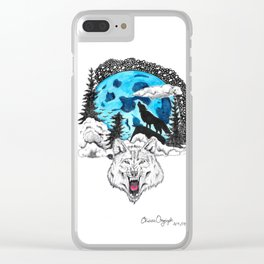Blue Moon Wolf Clear iPhone Case