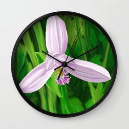 Rose Pogonia Orchid Wall Clock