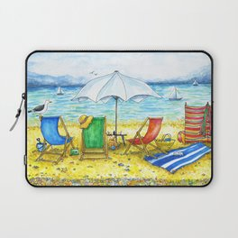 Deckchairs on the Beach | Drawing of traditional British Seaside Scene Laptop Sleeve