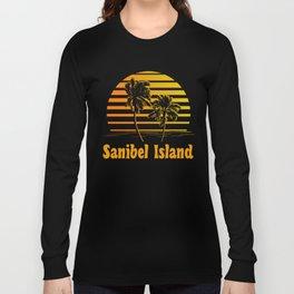 Sanibel Island Florida Sunset Palm Trees Long Sleeve T-shirt