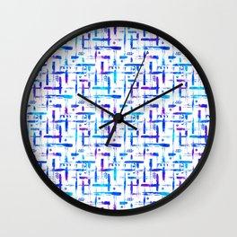 Blue brush stripes plaid on white Wall Clock