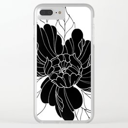 Black Peony Flower Clear iPhone Case