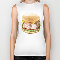 burger Biker Tanks featuring Burger by Creadoorm