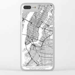 New York Map White Clear iPhone Case