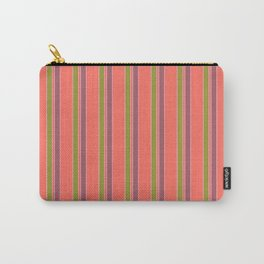 Coral Stripes Carry-All Pouch