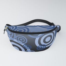 Blue Spirals pattern Design Fanny Pack