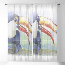 Toucan watercolor illustration, aquarelle art bird Sheer Curtain