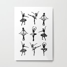 Watercolor Ballerinas (Black) Metal Print